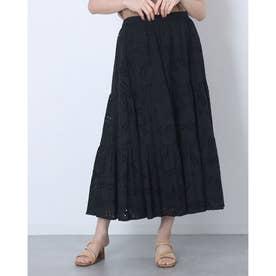 刺繍レースティアードフレアスカート (BLACK)