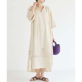カットワーク刺繍ドレス (BEIGE)