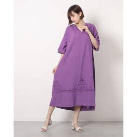 カットワーク刺繍ドレス (PURPLE)