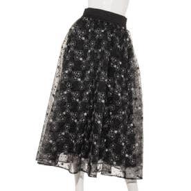 【Sov.】ポリエステル フラワーオーガンジースカート (ブラック)