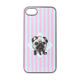 iPhone7 ブラックケース 檻の中のパグ (ピンク)
