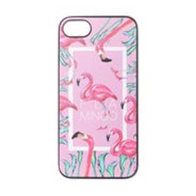 iPhone7 ブラックケース FLAMINGO SQUARE ピンク (ピンク)