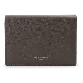 PELLE MORBIDA 型押しレザー3つ折り財布 (チャコールグレー)