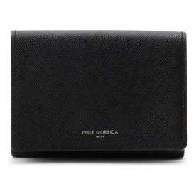 PELLE MORBIDA 型押しレザー3つ折り財布 (ブラック)