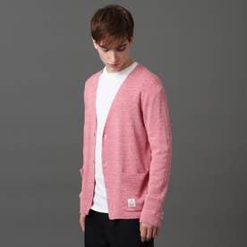 ノーカラーニットジャケット (ピンク)