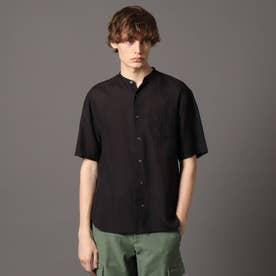 ラミーバンドカラーハーフシャツ (ブラック)