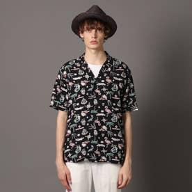 コロニアルリゾートアロハシャツ (ブラック)