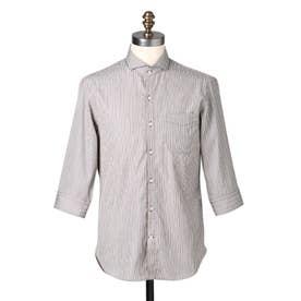 スリークオーター ストライプシャツ (ダークブラウン)