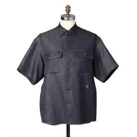 リネン混CPOシャツ (ネイビー)