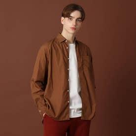 【men's FUDGE9月号掲載】200/2ブロードシャツ (ブラウン)
