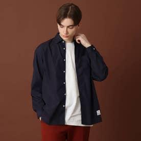 【men's FUDGE9月号掲載】200/2ブロードシャツ (ネイビー)