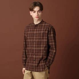 オーバーペンチェック バンドカラーシャツ (ブラウン)