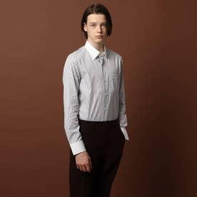 モノトーンストライプ ワイドカラーシャツ (ホワイト)