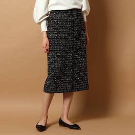 ファンシーツィード ラップ風スカート (ブラック)