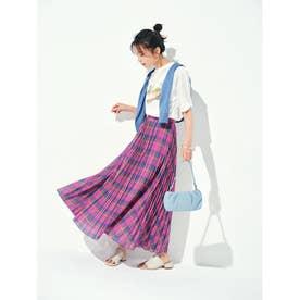 ◆【STORY6月号】シアーマドラスチェックマキシスカート (ラズベリーピンク)