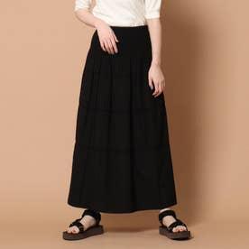 【2WAY】リバーシブルシャーリングフレアスカート (ブラック)