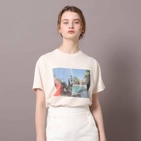 ロゴ&フォトプリントTシャツ (ライトピンク)