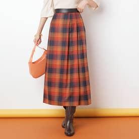 ウォッシャブルウールチェックロングスカート (オレンジ)