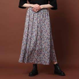 ヴィンテージフラワーギャザースカート (グレー)