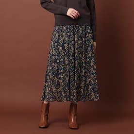 ヴィンテージフラワーギャザースカート (ネイビー)