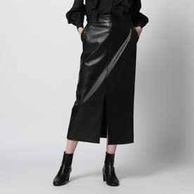 【スタイリスト亀恭子さんコラボアイテム】フェイクレザースカート (ブラック)