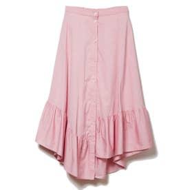 カラーOXイレギュラーヘムスカート (ピンク)