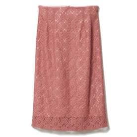 総レースセミタイトスカート (ピンク)