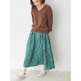 小花柄フレアースカート (グリーン)
