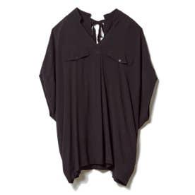 バックリボンルーズチュニックシャツ (ブラック)