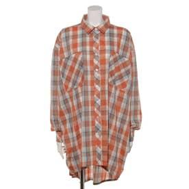 マドラスチェックオーバーシャツ (オレンジ)