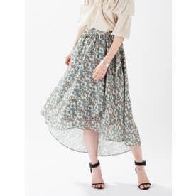 ボタニカルフラワーラップスカート (グリーン)