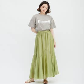 BomullプリントTシャツ (カーキ)