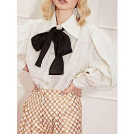 West Country Weave Bow Blouse (IVORY)