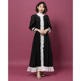 Governess Ruffle Midi Dress (BLACK)