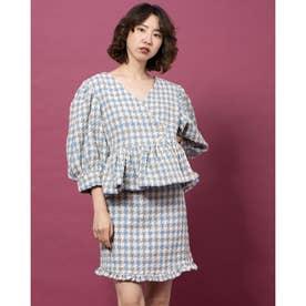 Weave Away Tweed Wrap Top (BLUE)