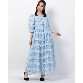 Sweatheart Ruffle Midi Dress (BLUE)
