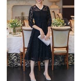 総レースフレアワンピースドレス (ブラック)