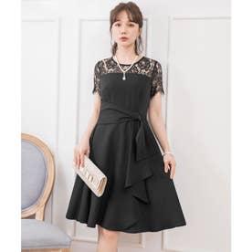 レーススリーブサイドドレープドレス (ブラック)