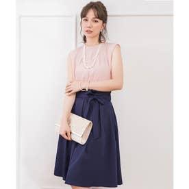 プチハイネックタックブラウス×ウエストリボンAラインスカート (ピンク)