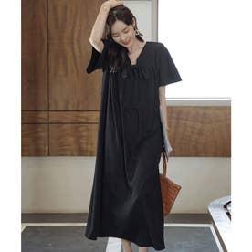 2wayギャザーワンピースドレス (ブラック)