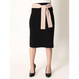 ウエストリボンバイカラースカート (BLACK)
