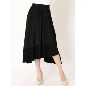 アシンメトリープリーツスカート (BLACK)