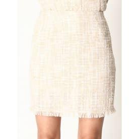 裾フリンジツイードスカート (BEIGE)