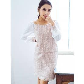 裾フリンジツイードスカート (PINK)
