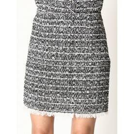 裾フリンジツイードスカート (BLACK)