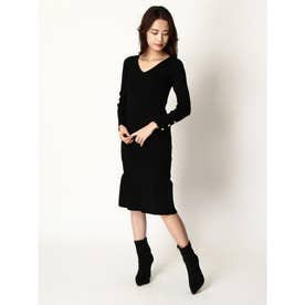 袖ボタン裾フリルワンピース (BLACK)