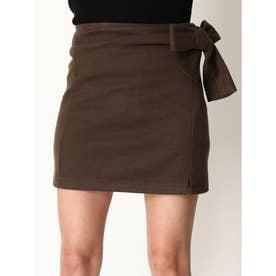 インナー付サイドリボンスカート (BROWN)