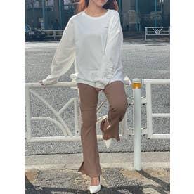 裾フレアプリーツリブパンツ (MOCHA)