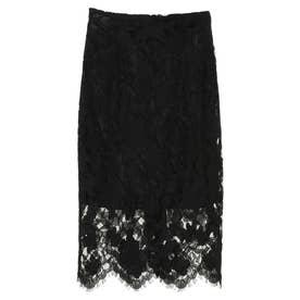 フラワーレースタイトスカート (BLACK)