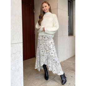 花柄ラップスカート (WHITE)